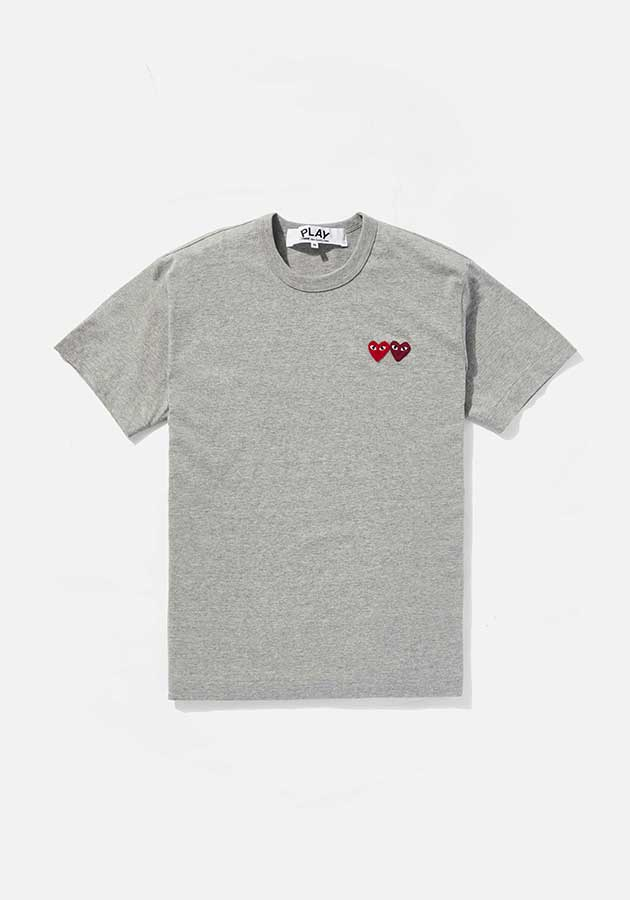 comme des garcons play double heart tee