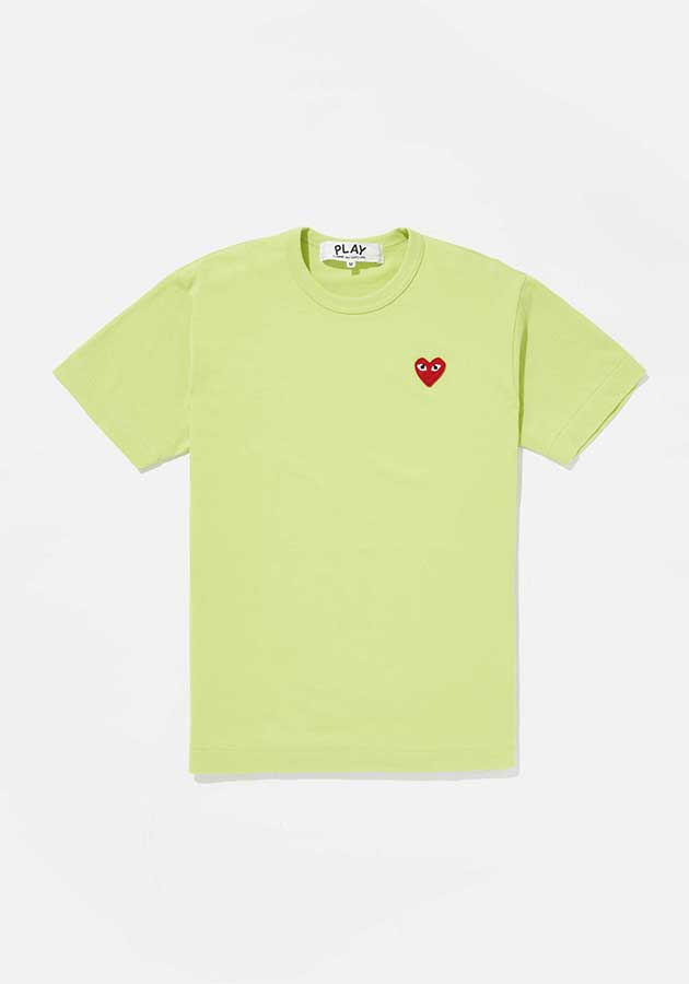 comme des garcons bright red heart tee