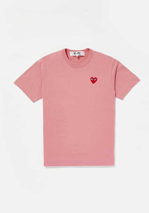 comme des garcons play bright red heart tee