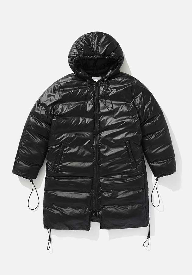 mki long hooded bubble jacket