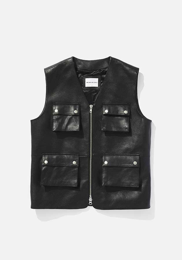 mki leather pocket vest